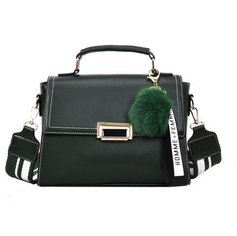 Fashionable Atmosphere Female Wild Messenger Shoulder Bag Wide Strap Small Square Package - GREEN
