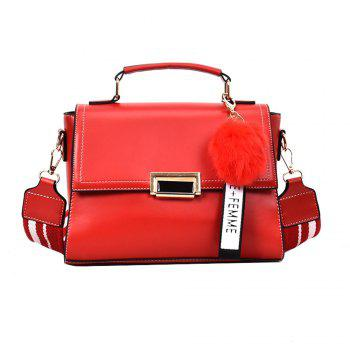 Fashionable Atmosphere Female Wild Messenger Shoulder Bag Wide Strap Small Square Package - RED RED