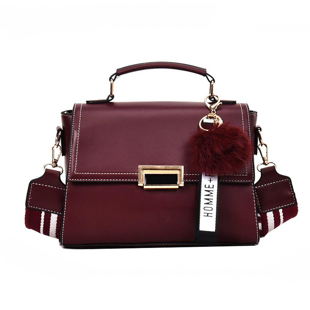 Fashionable Atmosphere Female Wild Messenger Shoulder Bag Wide Strap Small Square Package - WINE RED
