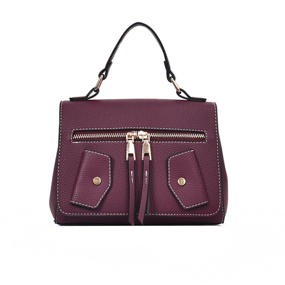One Shoulder Wild Messenger Fashion Small Square Bag Handbags - WINE RED