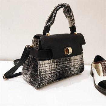 Woolen Handbag Shoulder Buckle Messenger Bag - BLACK