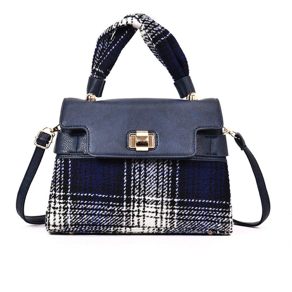 Woolen Handbag Shoulder Buckle Messenger Bag - BLUE