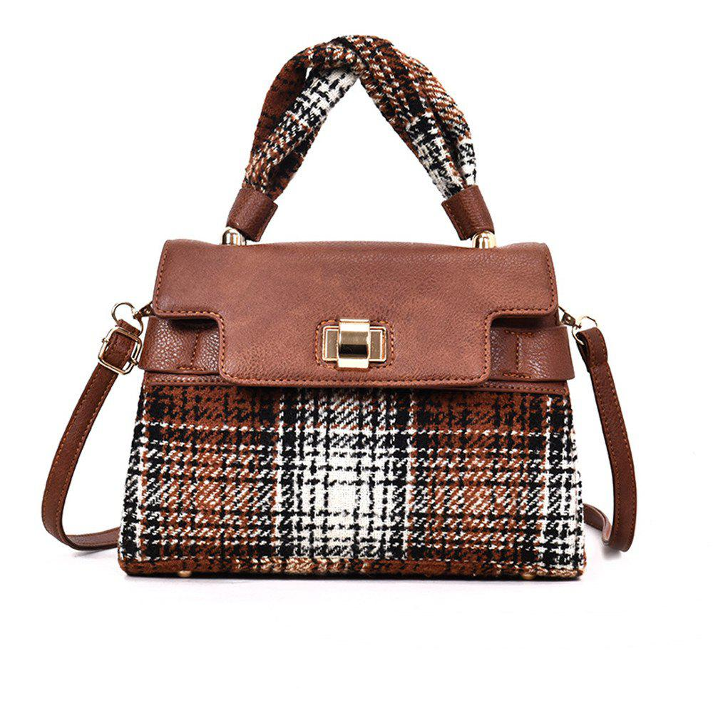Woolen Handbag Shoulder Buckle Messenger Bag - BROWN