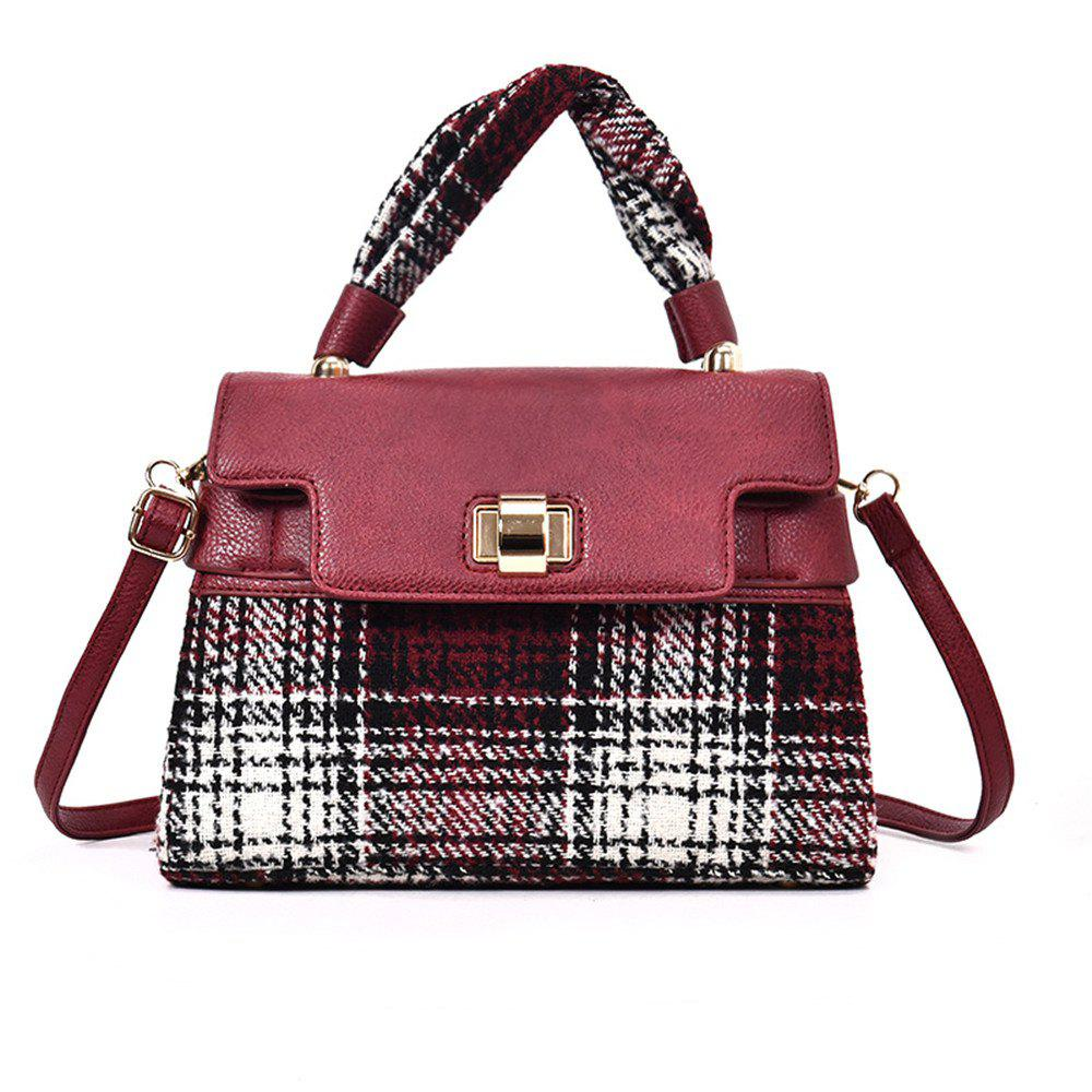 Woolen Handbag Shoulder Buckle Messenger Bag - WINE RED