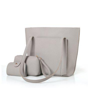Four-Piece Package Grain Mobile Fashion Shoulder Messenger Female Bag - GRAY GRAY