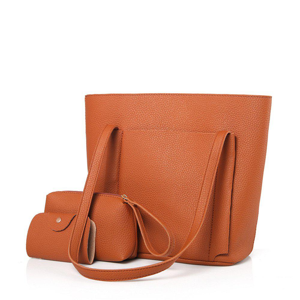 Four-Piece Package Grain Mobile Fashion Shoulder Messenger Female Bag - CAMEL