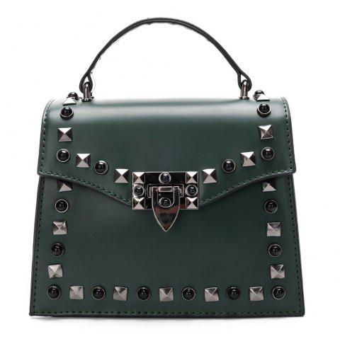 Handbag Fashion Rivets Small Square Shoulder Bag - GREEN