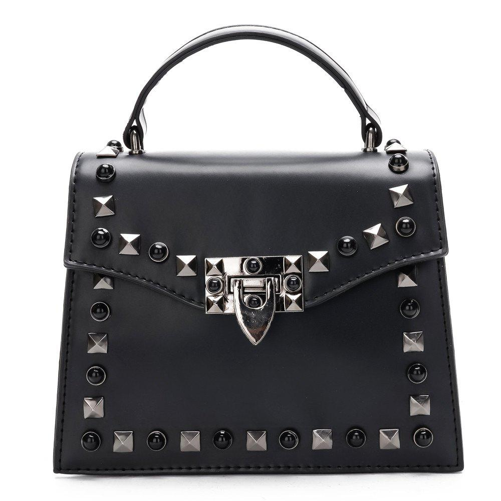 Handbag Fashion Rivets Small Square Shoulder Bag - BLACK