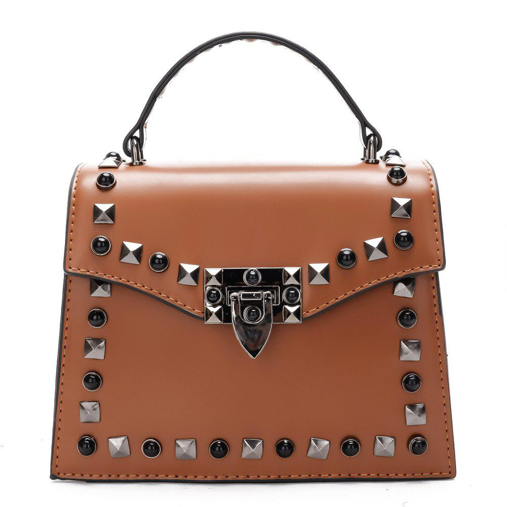 Handbag Fashion Rivets Small Square Shoulder Bag - BROWN