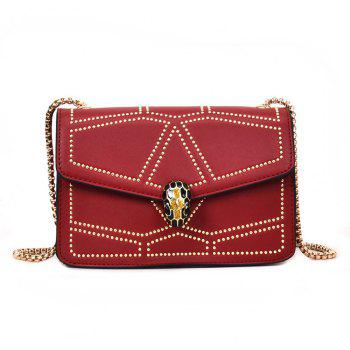Snake Head Chain Fashion Package Buckle Small Bag Shoulder Diagonal Package - RED RED