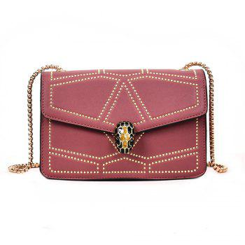 Snake Head Chain Fashion Package Buckle Small Bag Shoulder Diagonal Package - PINK PINK