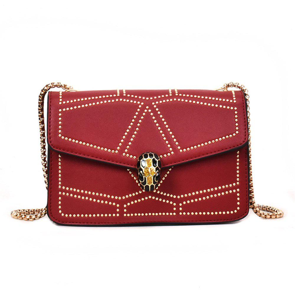 Snake Head Chain Fashion Package Buckle Small Bag Shoulder Diagonal Package - RED