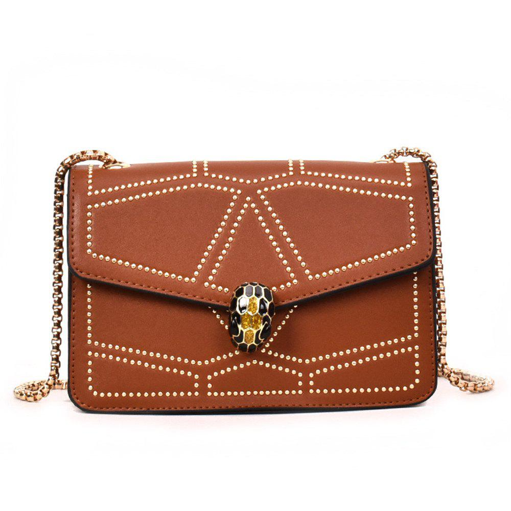 Snake Head Chain Fashion Package Buckle Small Bag Shoulder Diagonal Package - BROWN