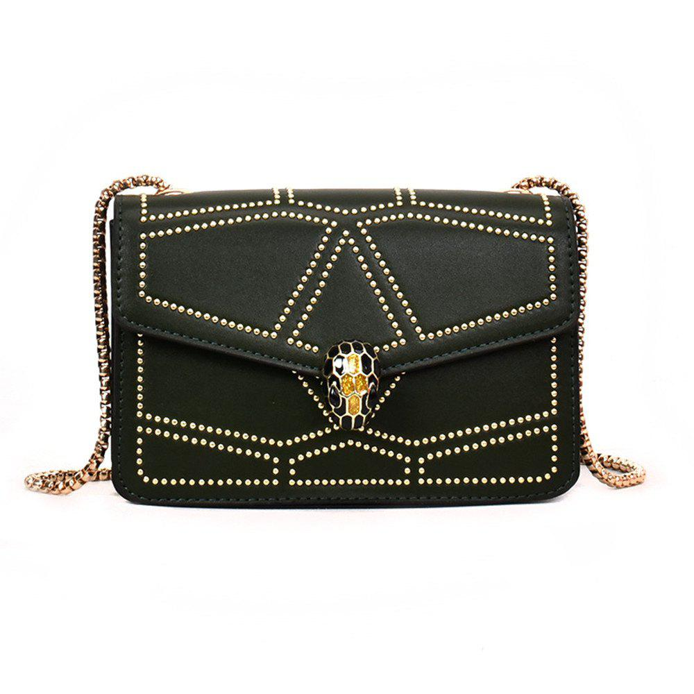 Snake Head Chain Fashion Package Buckle Small Bag Shoulder Diagonal Package - GREEN