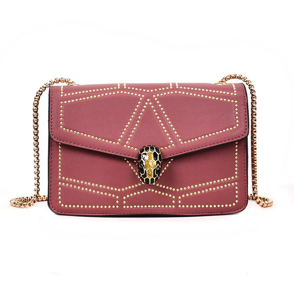 Snake Head Chain Fashion Package Buckle Small Bag Shoulder Diagonal Package - PINK