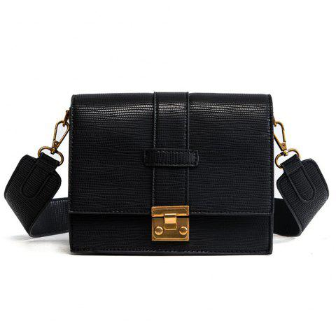 Square Lock Bag Female  Crossbody Wide Shoulder Straps - BLACK