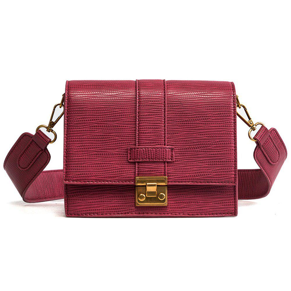 Square Lock Bag Female  Crossbody Wide Shoulder Straps - RED