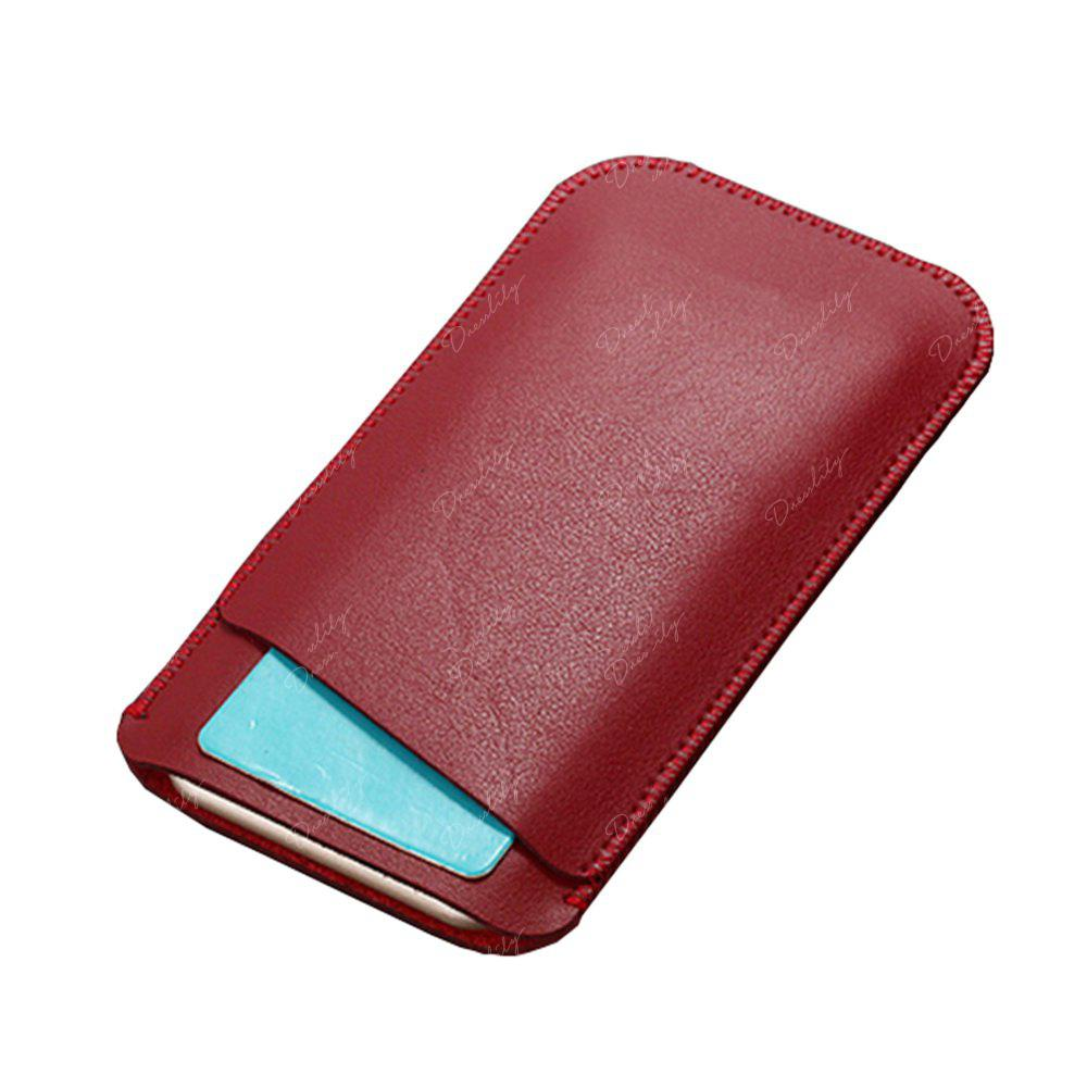 Charmsunsleeve For UMIDIGI C2 5.0 inch Case Ultra-thin Microfiber Leather Phone Sleeve Bag Card Pocket - RED
