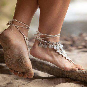 Metallic Gold Coin Gold Coin Chain Anklet - SILVER