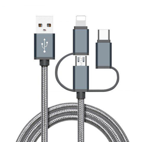 High Speed Nylon Braided Fast Charging 3 in 1 USB Charger Cable for iPhone Android Type C Smartphones - GRAY