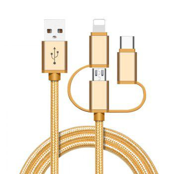 High Speed Nylon Braided Fast Charging 3 in 1 USB Charger Cable for iPhone Android Type C Smartphones - EARTHLY GOLD EARTHLY GOLD