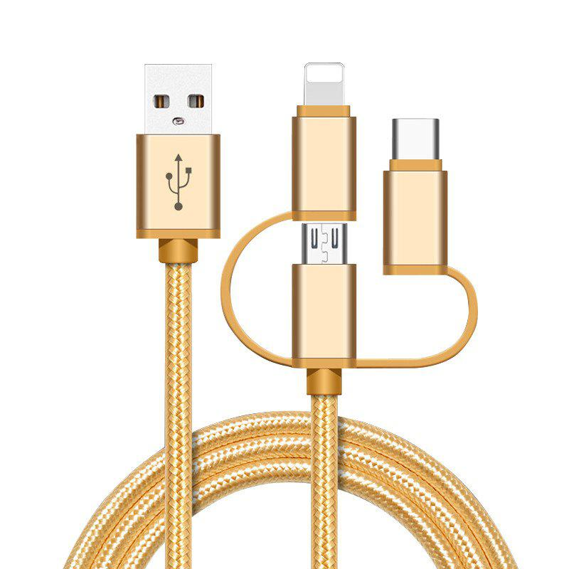 High Speed Nylon Braided Fast Charging 3 in 1 USB Charger Cable for iPhone Android Type C Smartphones - EARTHLY GOLD