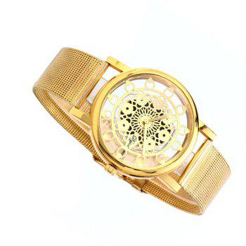Hollow Stylish Stainless Steel Mesh Band Watch - GOLDEN FEMALE