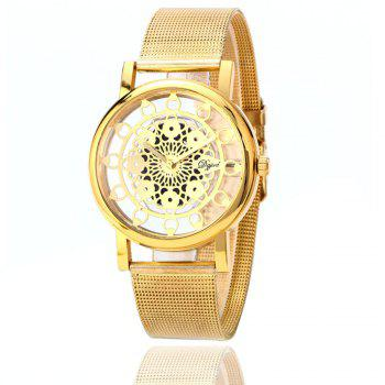 Hollow Stylish Stainless Steel Mesh Band Watch - GOLDEN GOLDEN