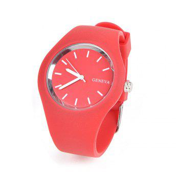 Stylish Simple Silicone Band Women Watch - RED RED