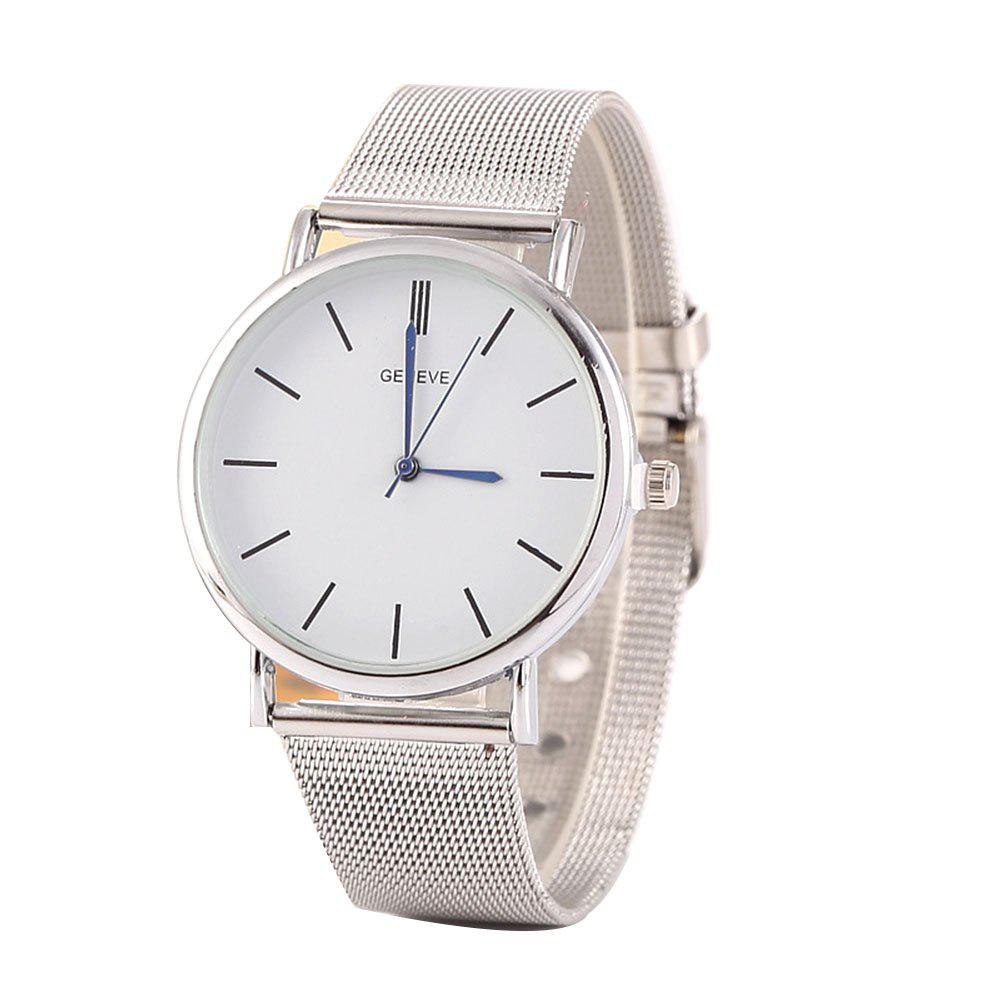 Stylish Casual Stainless Steel Band Men Watch - SILVER MALE