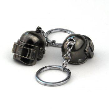 Three Personality Fashion Helmet Key Chain - SILVER/BLACK