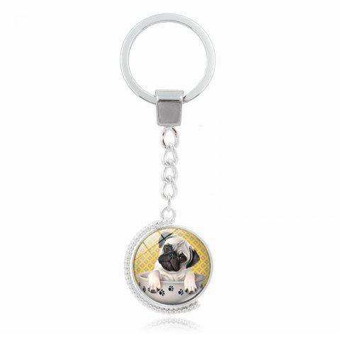 Teacup Pug Double Sided Rotating Time Gem Keychain - SILVER