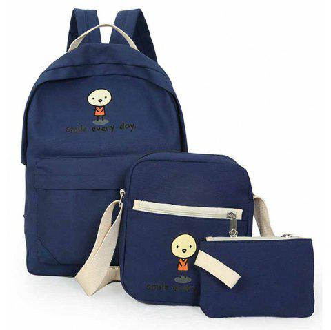 3 Pcs School Bags Set Cartoon Pattern Canvas Backpack Bags Set - BLUE