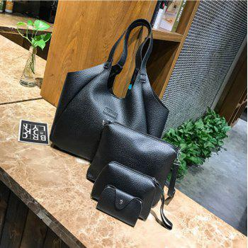 4Pcs Women's Handbag Set Solid Color Large Capacity Simple All Match Bags Set - BLACK