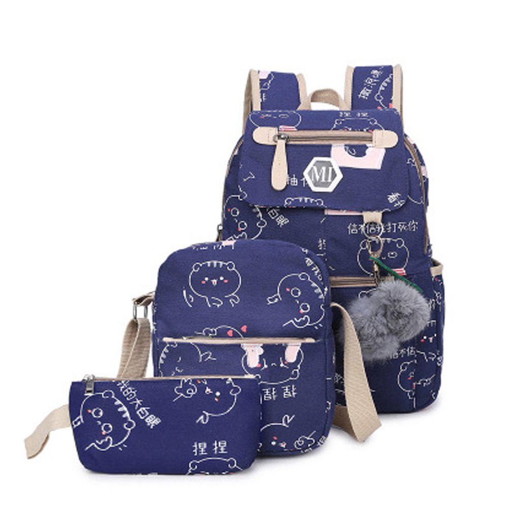 Girl's Schoolbag 3 Pcs Cat Pattern Canvas Cute Kids Bag - BLUE