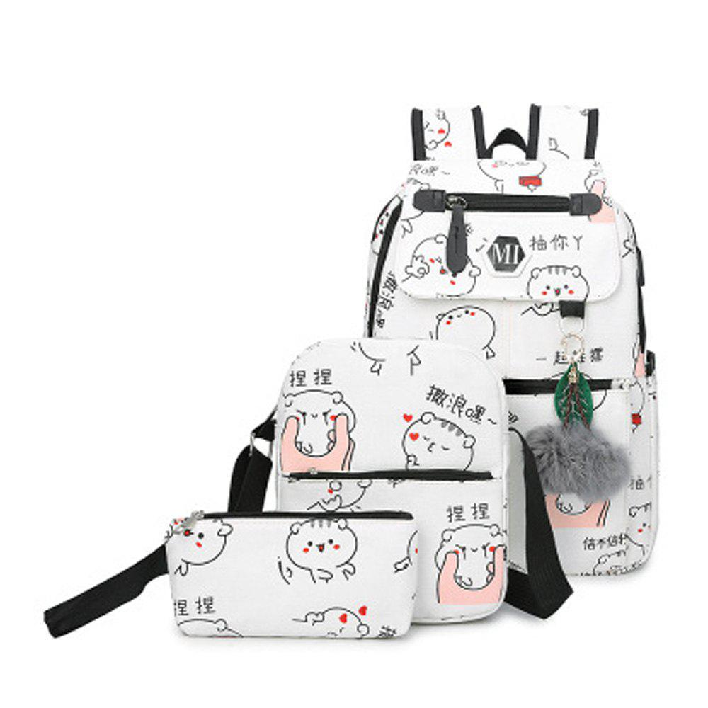 Girl's Schoolbag 3 Pcs Cat Pattern Canvas Cute Kids Bag - WHITE