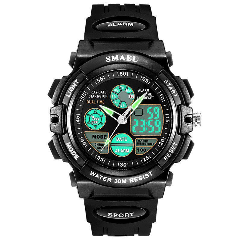 Multi-function Waterproof Durable Sport LED Electronic Watch - BLACK