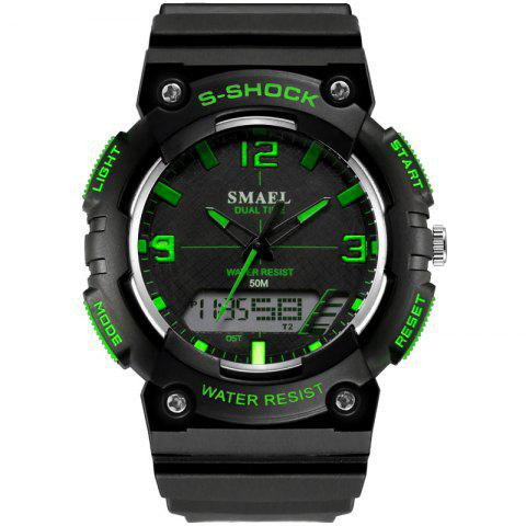SMAEL SL1539C Multi-function Waterproof Durable Electronic Watch for Students - BLACK/GREEN