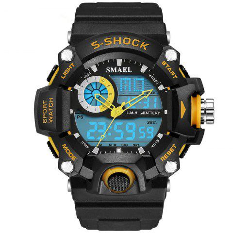 SMAEL 1385 Multi-function Durable Waterproof Electronic Outdoor Sport LED Watch - YELLOW