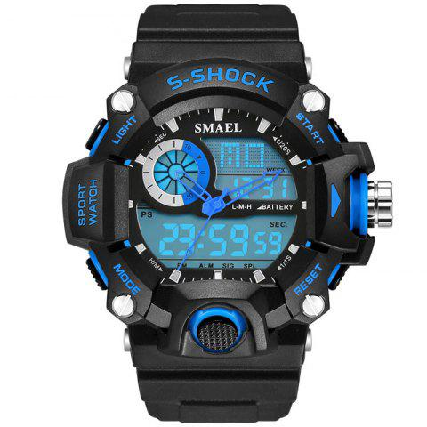 SMAEL 1385 Multi-function Durable Waterproof Electronic Outdoor Sport LED Watch - BLACK/BLUE