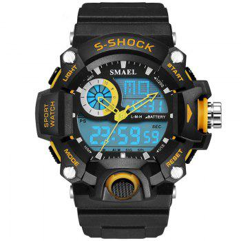 SMAEL 1385 Multi-function Durable Waterproof Electronic Outdoor Sport LED Watch - YELLOW YELLOW