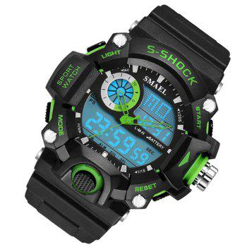 SMAEL 1385 Multi-function Durable Waterproof Electronic Outdoor Sport LED Watch -  GREEN