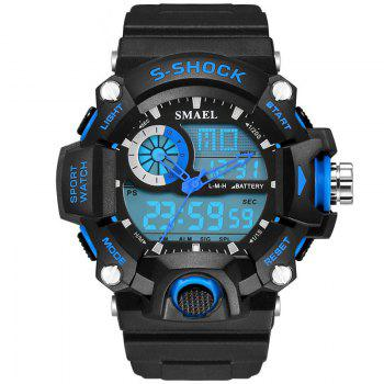 SMAEL 1385 Multi-function Durable Waterproof Electronic Outdoor Sport LED Watch - BLACK AND BLUE BLACK/BLUE