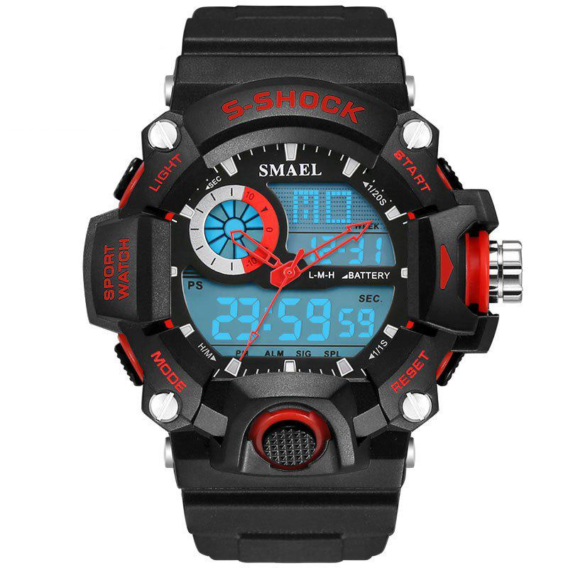 SMAEL 1385 Multi-function Durable Waterproof Electronic Outdoor Sport LED Watch - RED