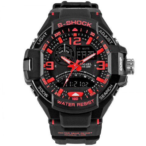 SMAEL 1516 Multi-function Waterproof Durable Outdoor Sport LED Watch - RED
