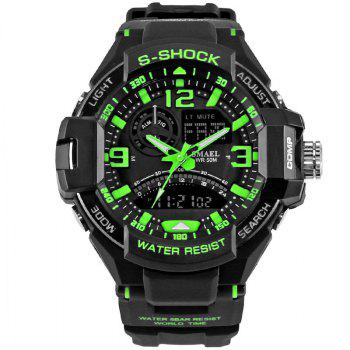 SMAEL 1516 Multi-function Waterproof Durable Outdoor Sport LED Watch - GREEN GREEN