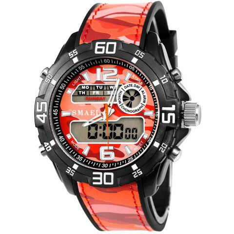 SMAEL 1077 Multi-function Outdoor Sport Waterproof Electronic Camouflage Watch - RED