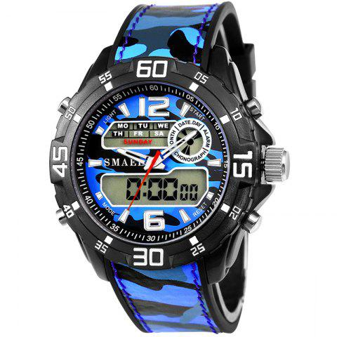 SMAEL 1077 Multi-function Outdoor Sport Waterproof Electronic Camouflage Watch - BLUE