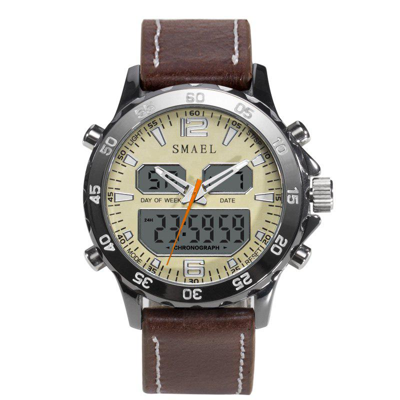 SMAEL 1281 Multi-function Waterproof  Sport Alloy Electronic Watch - BROWN