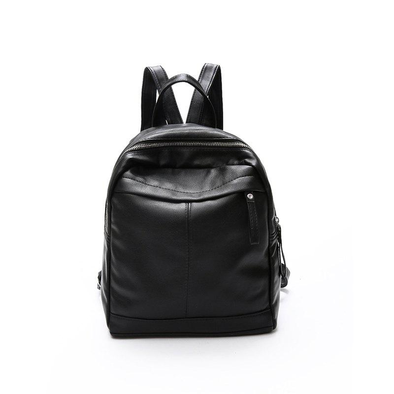 New Pu Fashion Personality Backpack Handbag Mummy Bag - BLACK 30 X 13 X35